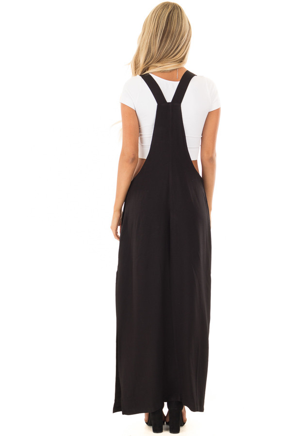 Black Overall Dress with Front Pocket and Side Slit back full body