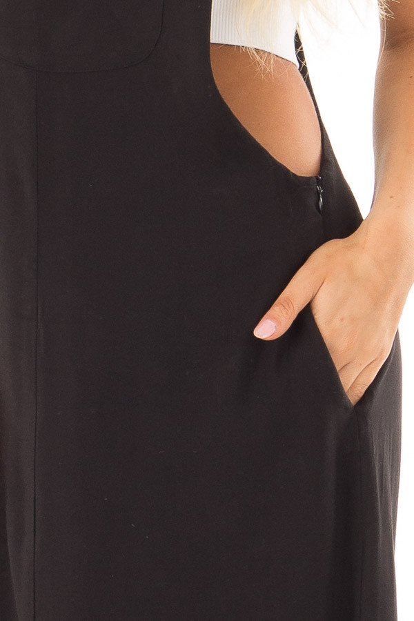 Black Overall Dress with Front Pocket and Side Slit front detail