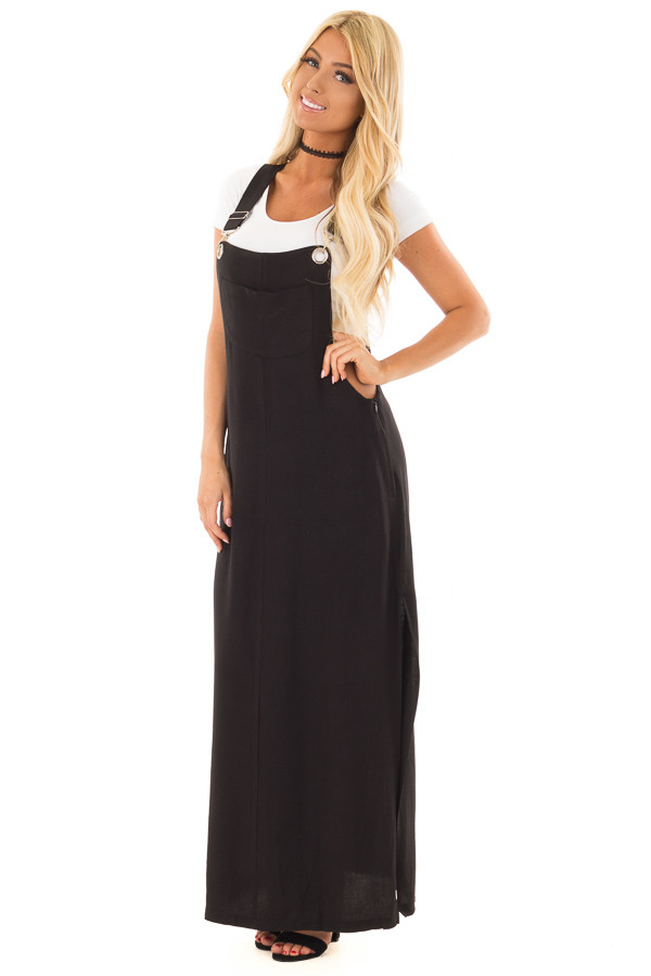 Black Overall Dress with Front Pocket and Side Slit front full body