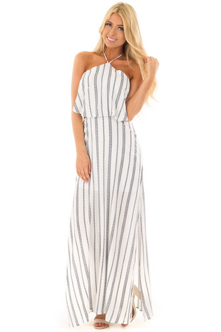 White and Navy Striped Halter Maxi Dress with Side Slits front full body