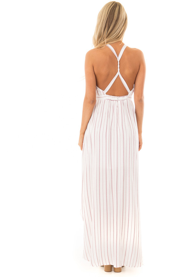 Burgundy and Off White Striped Woven Maxi Dress back full body
