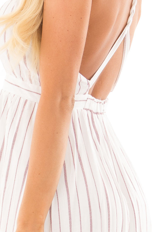 Burgundy and Off White Striped Woven Maxi Dress side detail
