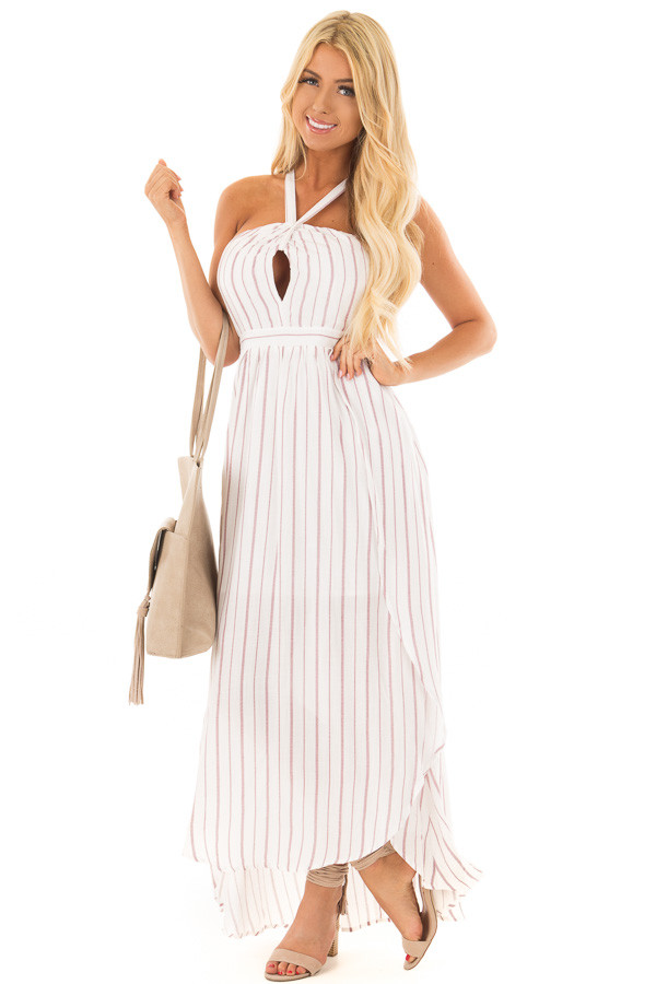 Burgundy and Off White Striped Woven Maxi Dress front full body
