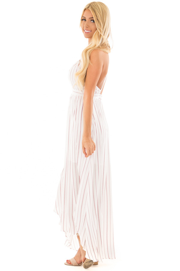 Burgundy and Off White Striped Woven Maxi Dress side full body