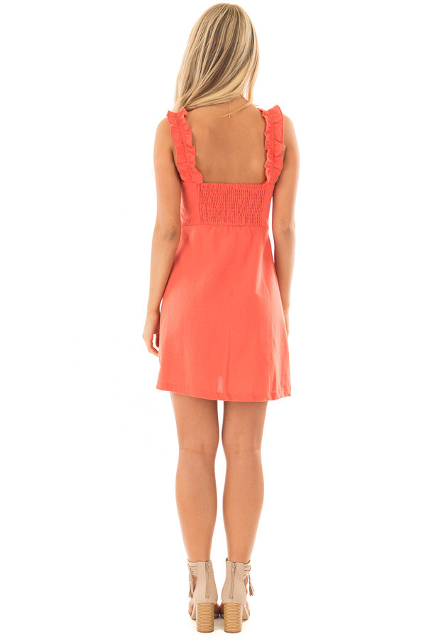 Coral Woven Dress with Sweetheart Neckline and Ruffle Detail back full body