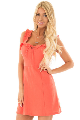 Coral Woven Dress with Sweetheart Neckline and Ruffle Detail front closeup