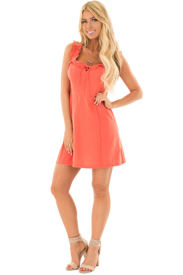 Coral Woven Dress with Sweetheart Neckline and Ruffle Detail front full body