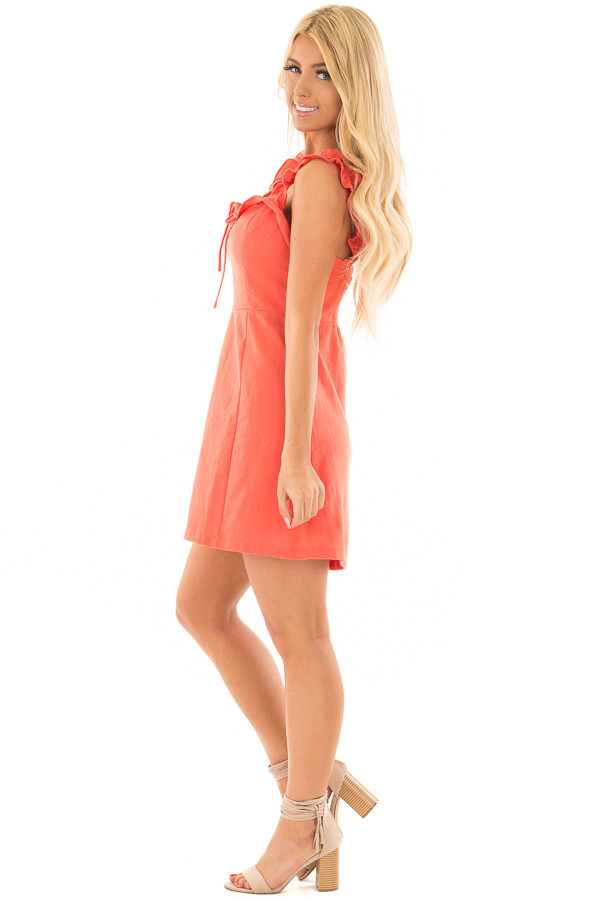 Coral Woven Dress with Sweetheart Neckline and Ruffle Detail side full body