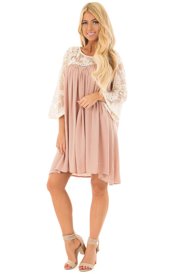 Dusty Rose Dress with Sheer Lace Yoke front full body