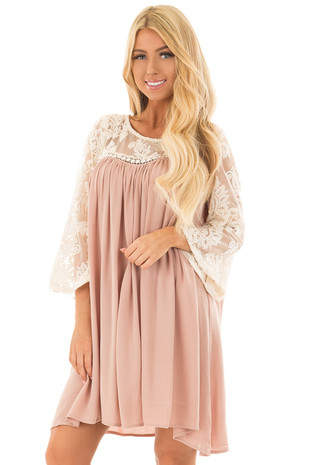 Dusty Rose Dress with Sheer Lace Yoke front closeup