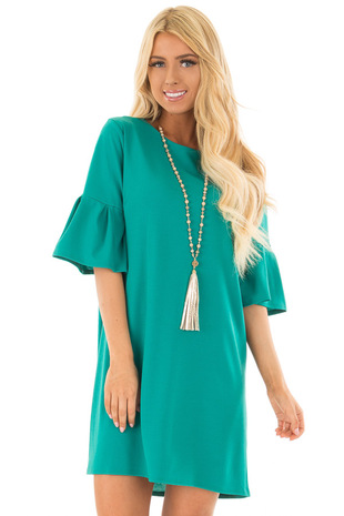 Sea Green Short Bell Sleeve Dress front closeup
