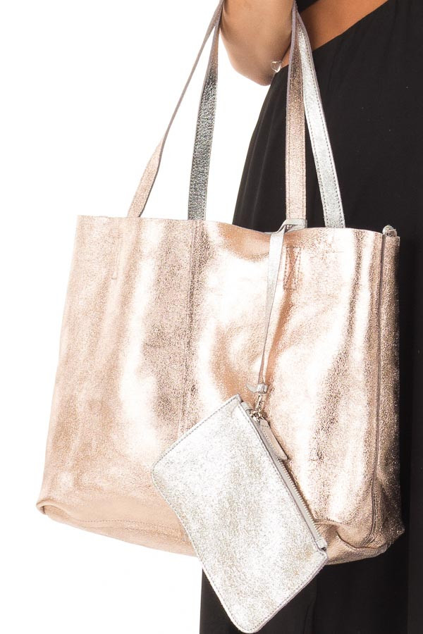 Silver and Rose Gold Reversible Tote with Money Pouch detail