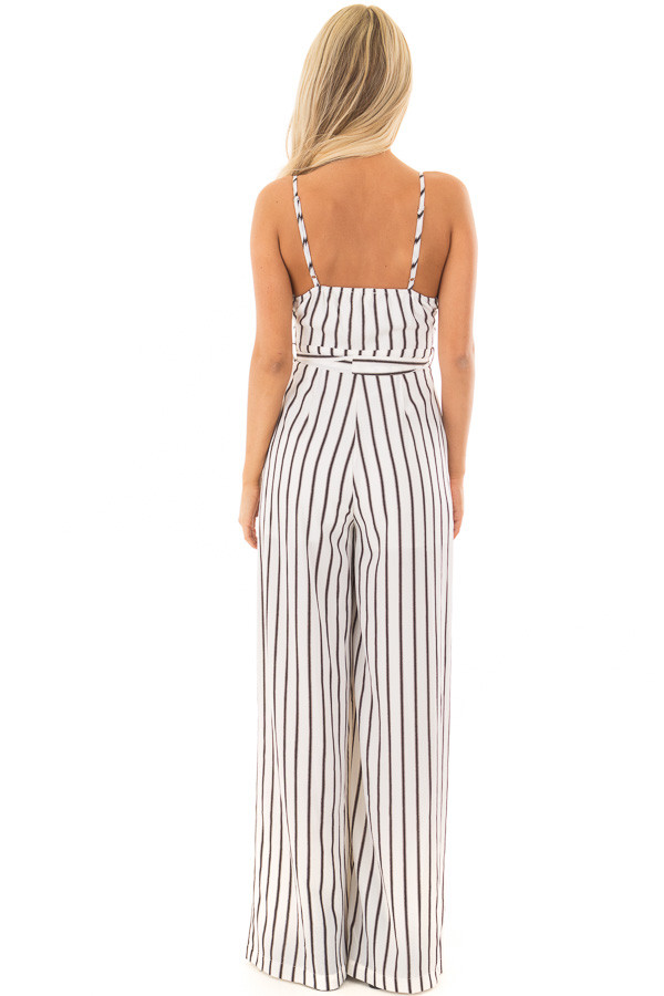 Off White and Black Striped Jumpsuit with Waist Tie back full body