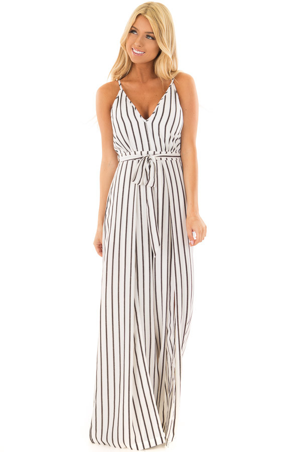 Off White and Black Striped Jumpsuit with Waist Tie front full body