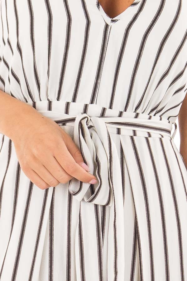 Off White and Black Striped Jumpsuit with Waist Tie front detail