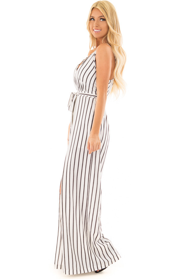Off White and Black Striped Jumpsuit with Waist Tie side full body