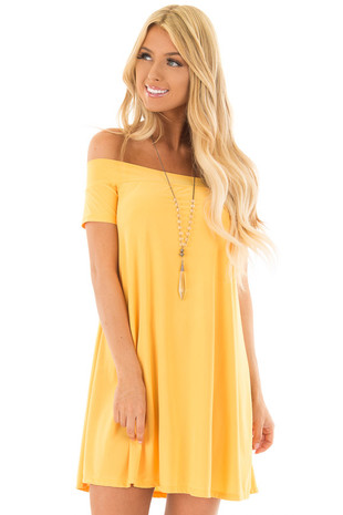Mango Off the Shoulder Slinky Dress front closeup