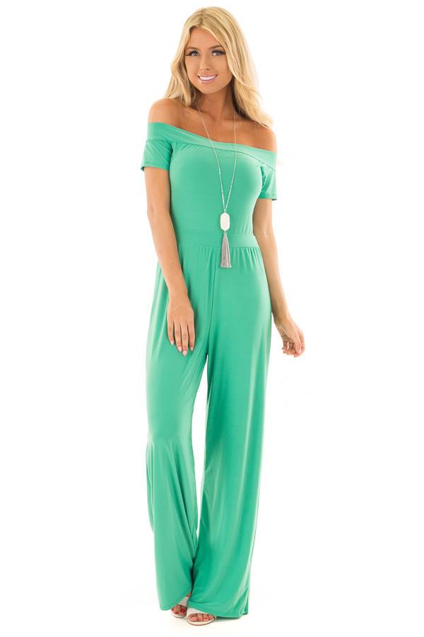 Kelly Green Off the Shoulder Jumpsuit front full body