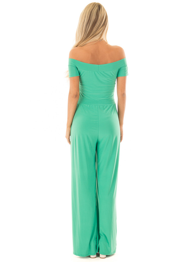 Kelly Green Off the Shoulder Jumpsuit back full body