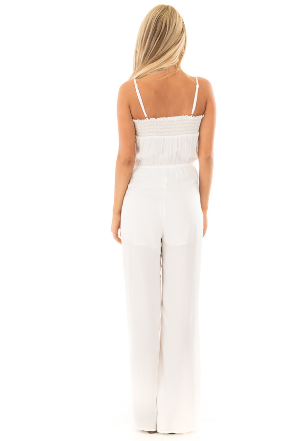 Ivory Jumpsuit with Smocked Neckline and Waist Tie back full body