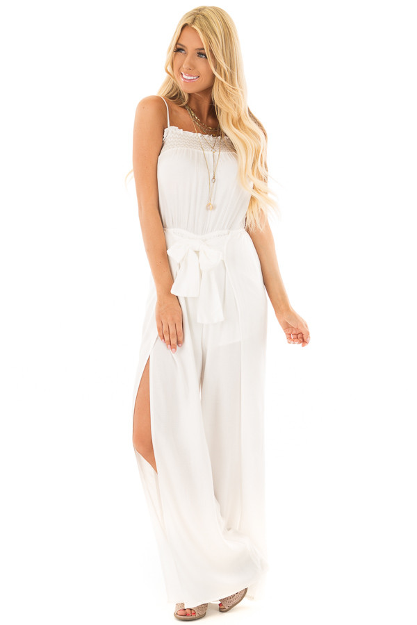 Ivory Jumpsuit with Smocked Neckline and Waist Tie front full body