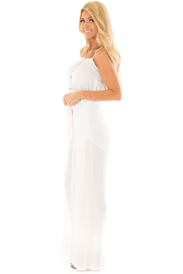 Ivory Jumpsuit with Smocked Neckline and Waist Tie side full body