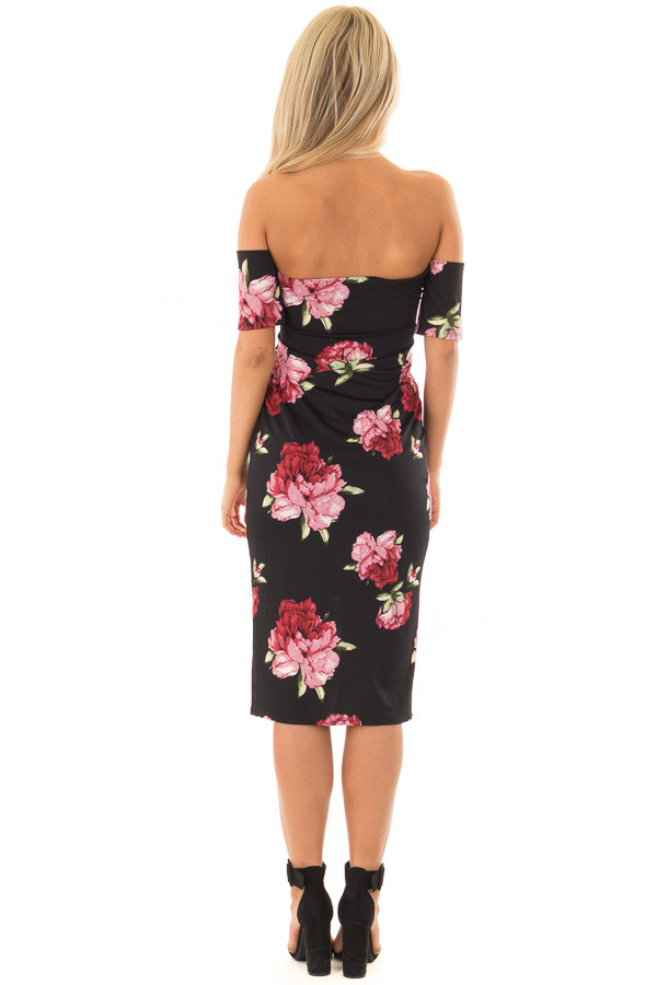 Black Floral Print Off the Shoulder Fitted Dress back full body