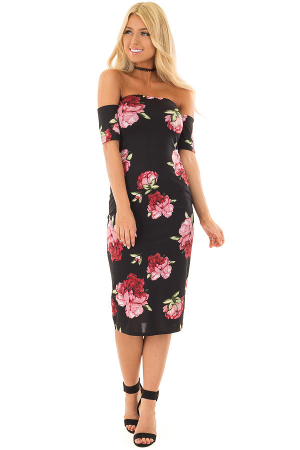 Black Floral Print Off the Shoulder Fitted Dress front full body