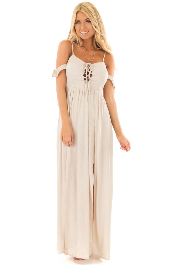 Beige Cold Shoulder Maxi Dress with Lace Up Neckline front full body