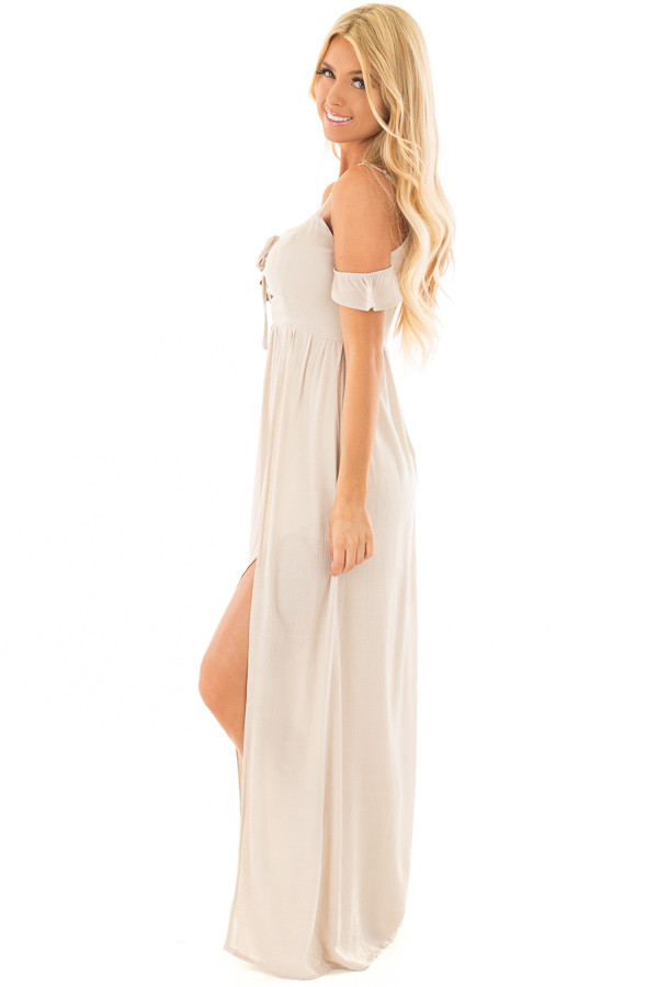 Beige Cold Shoulder Maxi Dress with Lace Up Neckline side full body