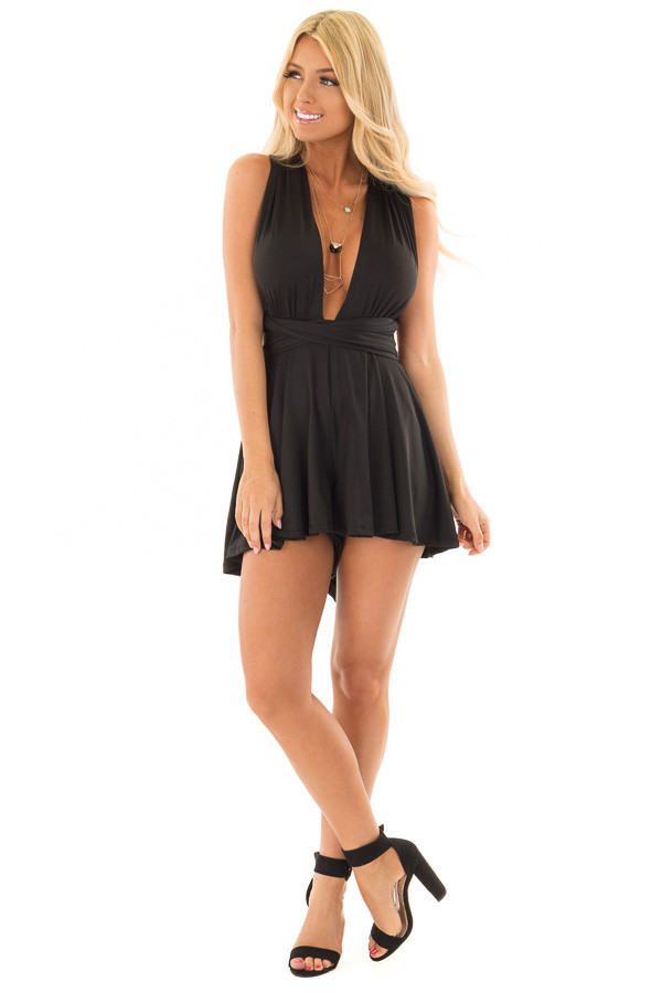 Black Romper with Plunging Neckline front full body