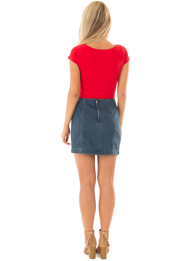 Cherry Red Cap Sleeve Stretchy Scoop Neck Tee back full body