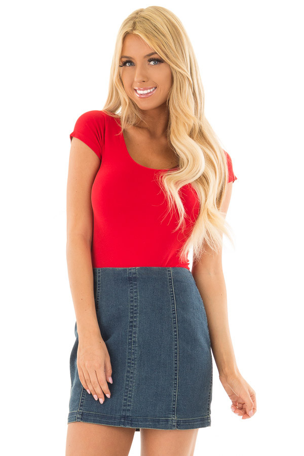Cherry Red Cap Sleeve Stretchy Scoop Neck Tee front closeup