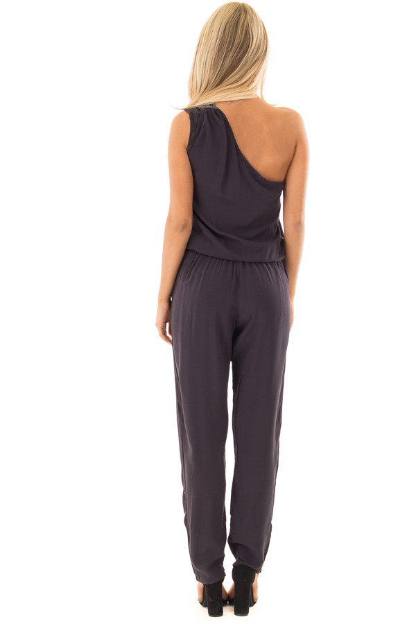 Black One Shoulder Jumpsuit with Side Pockets back full body