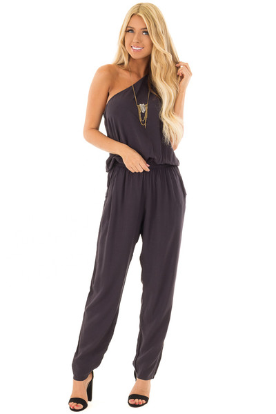 Black One Shoulder Jumpsuit with Side Pockets front full body