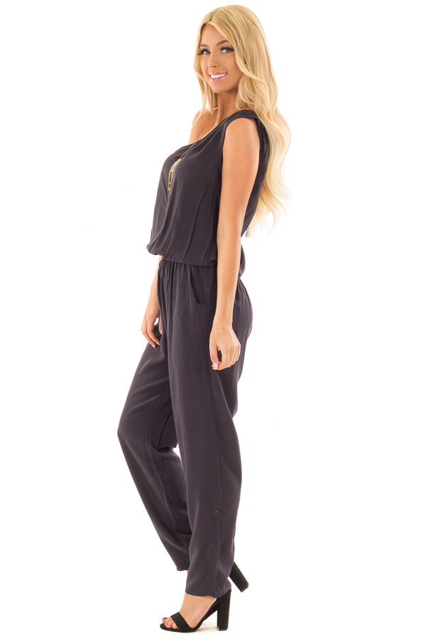 Black One Shoulder Jumpsuit with Side Pockets side full body
