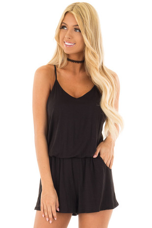 Black V Neck Romper with Side Pockets front closeup