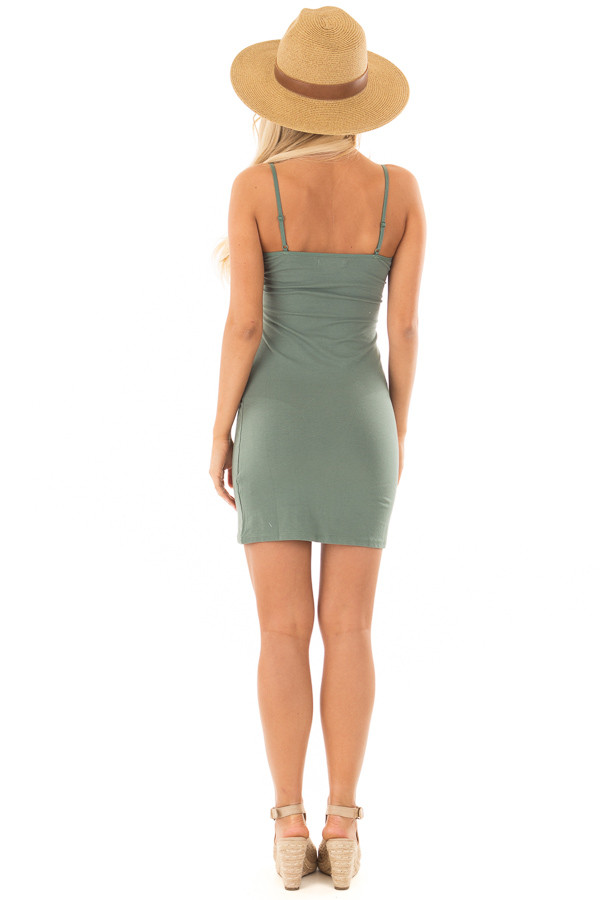 Deep Sage Fitted Cami Slip Dress back full body