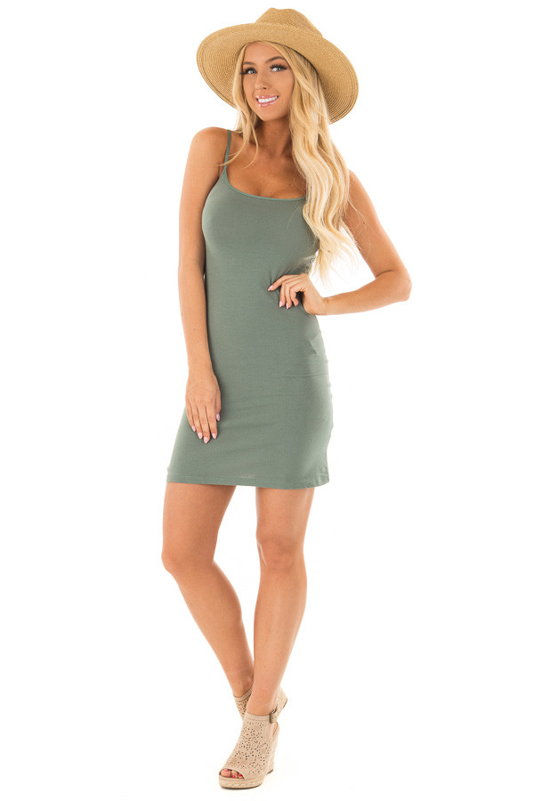 Deep Sage Fitted Cami Slip Dress front full body