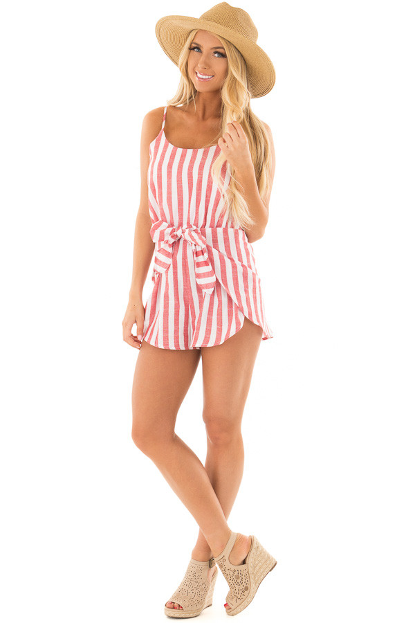 Candy Red and Ivory Striped Romper with Waist Tie front full body