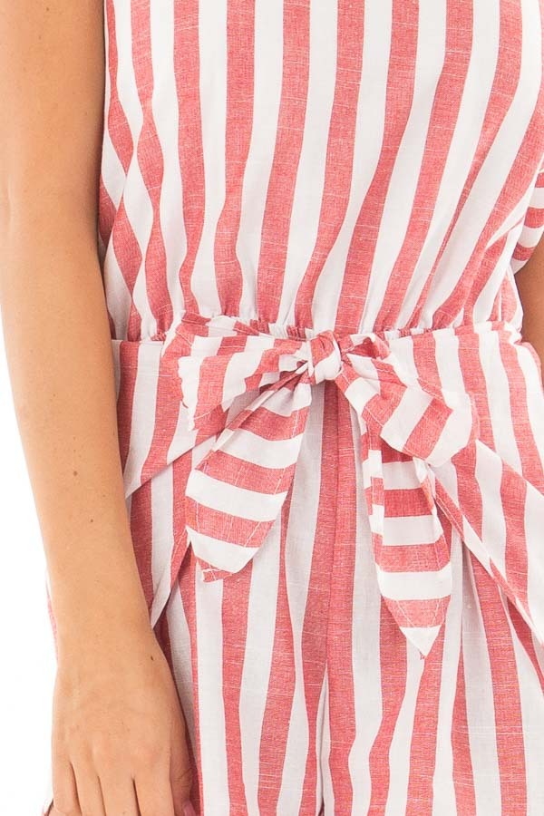 Candy Red and Ivory Striped Romper with Waist Tie front detail