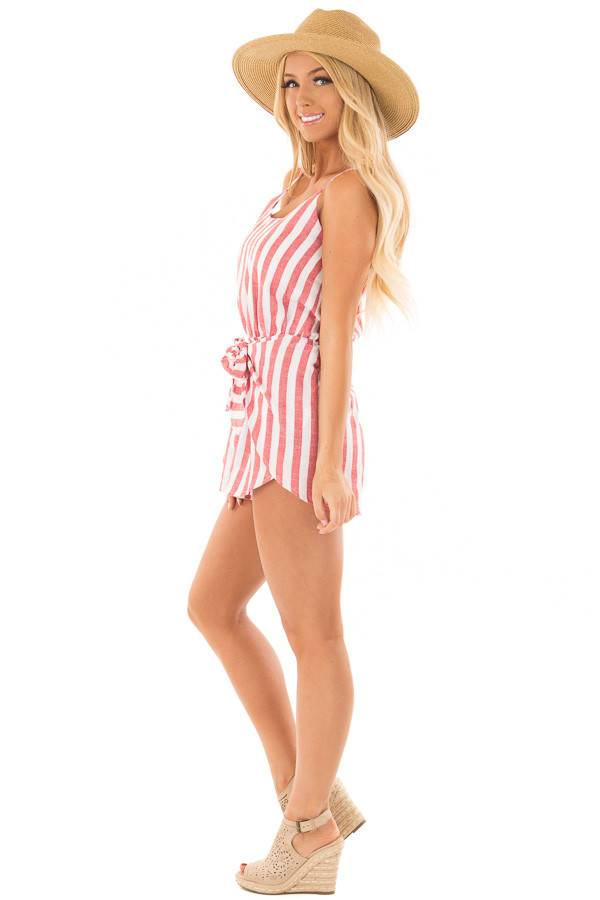 Candy Red and Ivory Striped Romper with Waist Tie side full body