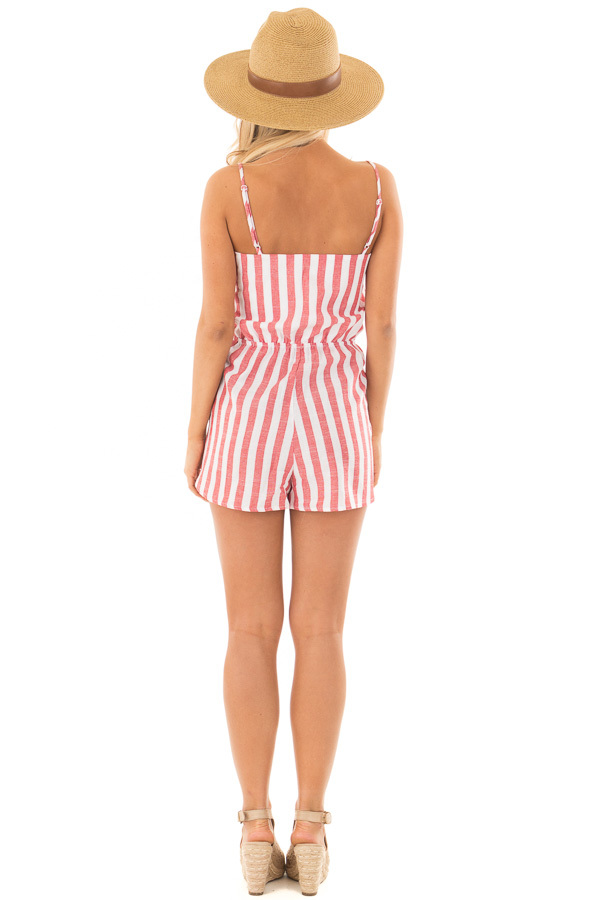 Candy Red and Ivory Striped Romper with Waist Tie back full body