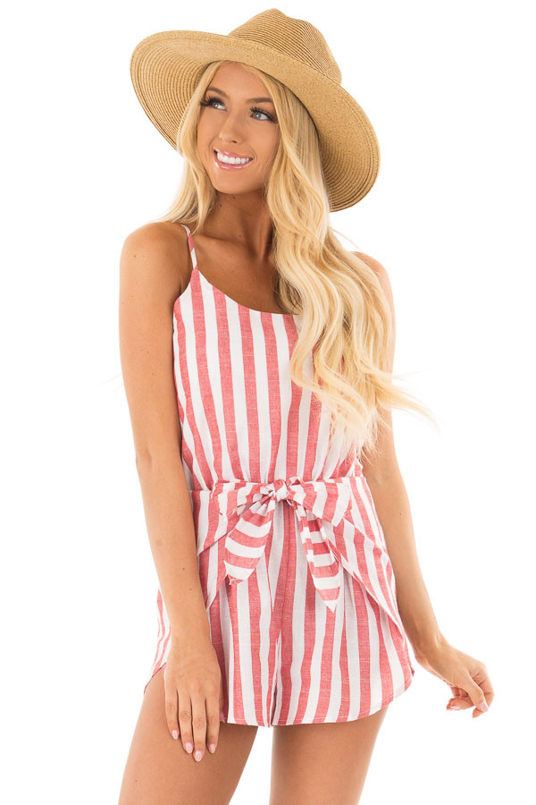 Candy Red and Ivory Striped Romper with Waist Tie front closeup