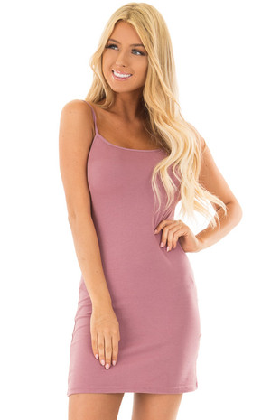 Dusty Mauve Fitted Cami Slip Dress front closeup