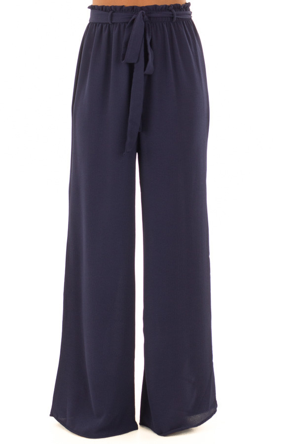 Navy High Waisted Woven Pants with Tie Detail front