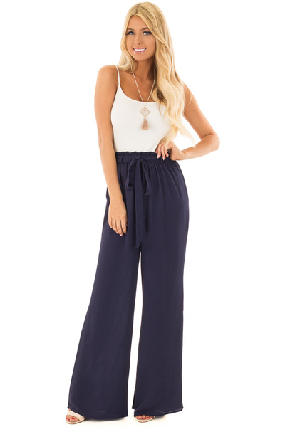 Navy High Waisted Woven Pants with Tie Detail front full body