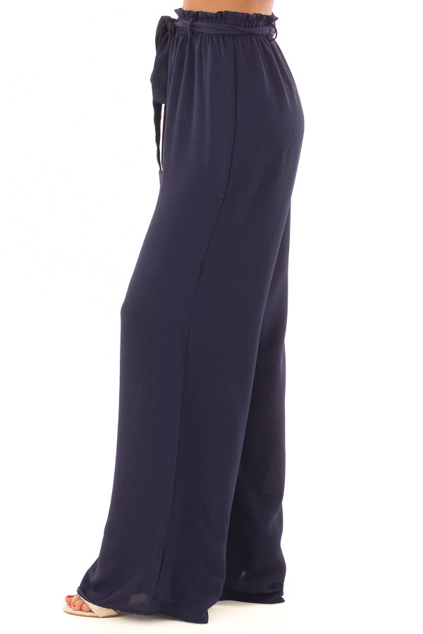 Navy High Waisted Woven Pants with Tie Detail left side