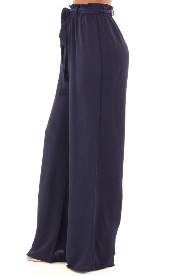 Navy High Waisted Woven Pants with Tie Detail right side