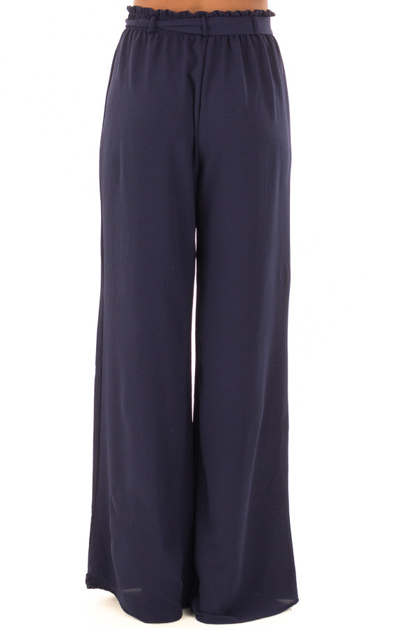 Navy High Waisted Woven Pants with Tie Detail back